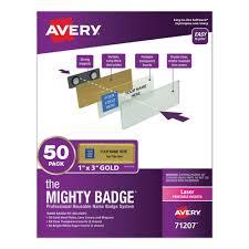 Avery The Mighty Badge Name Badge Holder Kit Horizontal 3 X 1 Laser Gold 50 Holders 120 Inserts