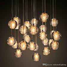 modern bubble crystal chandeliers lighting g4 led bulb light meteor rain drop ceiling pendant lights meteoric shower stair light 110v 220v raindrop