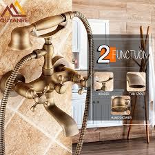 quyanre ru shipment antique brass bathtub shower faucets three handles mixer tap brass kit handshower wall