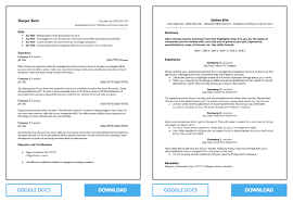Resume Templates For Google Docs