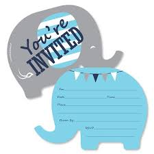 Birthday Invitations Boy Blue Elephant Shaped Fill In Invitations Boy Baby Shower Or Birthday Party Invitation Cards With Envelopes 12 Ct