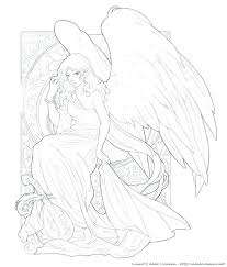 Fantasy Fallen Angel Coloring Page Printable Download Adult Pages