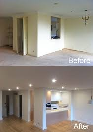 kitchen design before and after wall removal during kitchen renovation