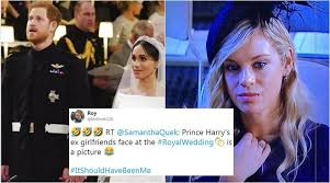 Prince harry's former girlfriend chelsy davy was all smiles as she arrived at the royal wedding despite her previous warnings about royal family life. Royal Wedding 2018 Prince Harry S Ex Girlfriend S Expression Takes Twitterati On A Laughter Ride Trending News The Indian Express
