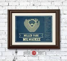 Milwaukee Brewers Miller Park Seating Chart Vintage Baseball Fan Print