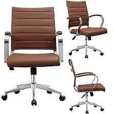 office chair designer. 2xhome Brown Mid Century Office Chair Modern Back Ribbed PU  Leather Swivel Tilt Adjustable Office Chair Designer