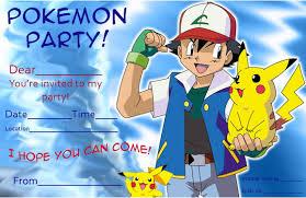 Pokemon Birthday Party Invitation Template First Birthday Invitations