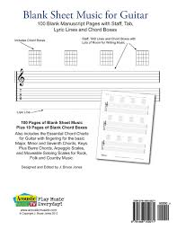 Blank Sheet Of Music Blank Sheet Music For Guitar 100 Blank Manuscript Pages