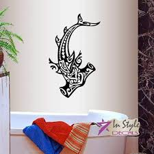 bro decals vinyl wall decals home decor stickers art hammerhead shark fish tribal ocean see bathroom shower bedroom room removable br1104