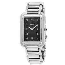 fendi watch fendi men s classico rectangle black dial stainless steel swiss watch f701011000
