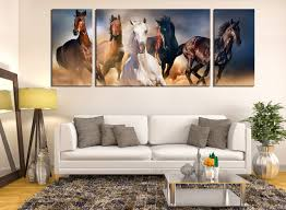 piece canvas wall art horses wall decor panoramic canvas