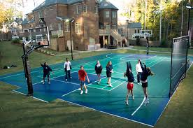 How Much Does It Cost To Install A Backyard Basketball Court Backyard Tennis Court Cost