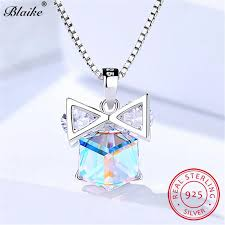 2019 blaike mystic fire topaz crystal bowknot pendant real 925 sterling silver square grant stone necklaces for women fine jewelry from zeipt