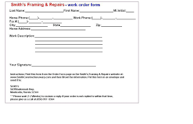 Printable Work Order Forms Work Order Form Template Free Printable Sheets Trejos Co