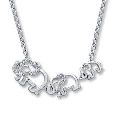 elephant family necklace diamond accents sterling silver tap to expand
