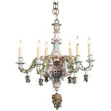 meissen porcelain six light rococo style chandelier for