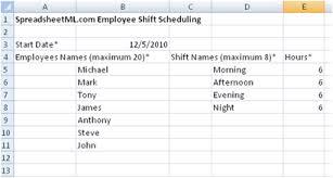 Shift Assignment Free Employee Shift Scheduling Spreadsheet