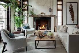 living room fireplaces designs. transitional living room with concrete floors, cement fireplace, metal parquet coffee table, carpet fireplaces designs