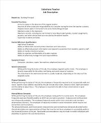 8 Substitute Teacher Job Description Samples Sample Templates