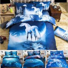 3d bedding set horse bed sheets duvet cover pillowcase nebula starry sky designer home textile fashion hot bedding for teens bedding for girls from