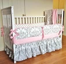 pink baby bedding set crib bedding baby girl bedding set pink gray damask made to order