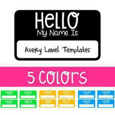 Avery Nametag Hello My Name Is Avery Label Name Tag Template