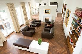 hardwood floor designs Living Room Modern with beige curtain black