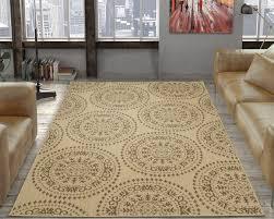 ottomanson jardin collection medallions indoor outdoor jute backing area rug 5 3 x 7 3 beige ottomanson