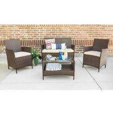 coastal furniture company. Brown Wicker Patio Conversation Set With White Cushions Inside Coastal Furniture Company