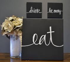eat drink be merry canvas wall art paintings black and white
