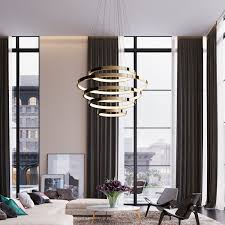 contemporary chandelier brushed metal polished metal led aura taso