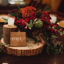 Rustic Wintry Red Centerpiece on Wooden Pedestal