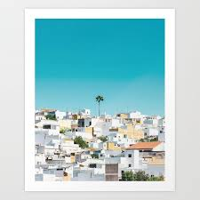 urban poster spain printable photography architecture building palm tree wall art blue white art print