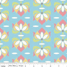 Amazon.com: 1 Yard Priscilla by Lila Tueller Designs From Riley Blake  Floral Blue C3362 Blue