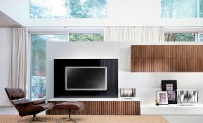 Living Room : Vintage Room Space With Modern Wall Units On White ...