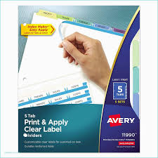 Avery 5 Tab Index Template Amazon Avery Print Apply Clear Label