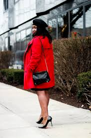 valentines day outfit ideas red coat black leather skirt plus size fashion blogger