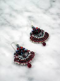 red black and silver woven chandelier earrings