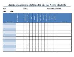 Special Education Accommodations Chart Classroom Accommodations Chart
