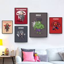marvel bedroom decor. superhero cute character cartoon marvel comics batman captain america poster printing a4 canvas art children\u0027s bedroom decor d
