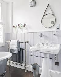 Traditional White Bathrooms Grey Traditional Bathroom With Dark Wood Flooring Interior