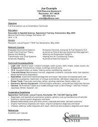 Automotive Technician Resume Objective Automotive Technician Resume