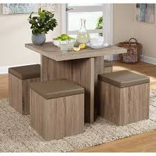 5 piece baxter dining set w storage ottomans table chairs stool kitchen dinette