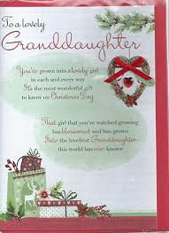 To A Lovely Granddaughter Christmas Greeting Card Traditional Cards ...