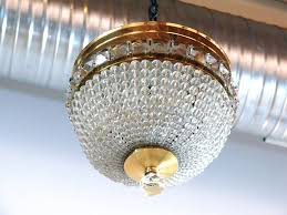 20th century crystal bead and brass dome chandelier for