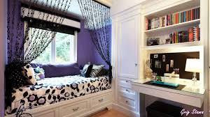 bedroom toddler girl ideas colorful striped pattern bed frame headboard footboard purple grey oak laminate wardrobe