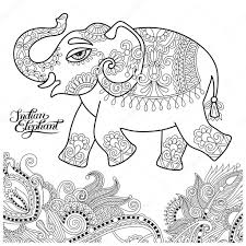 Etnische Indiase Olifant Line Originele Tekening Volwassenen