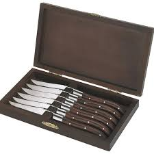 brown royal steak knives in wooden box set of 6 large0
