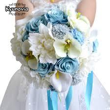 kyunovia wedding flowers bridal bouquet blue color roses bouquet