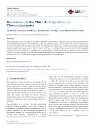 PDF) Derivation of the Third TdS Equation in Thermodynamics